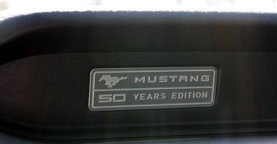 2015 Mustang 50 years logo on dash