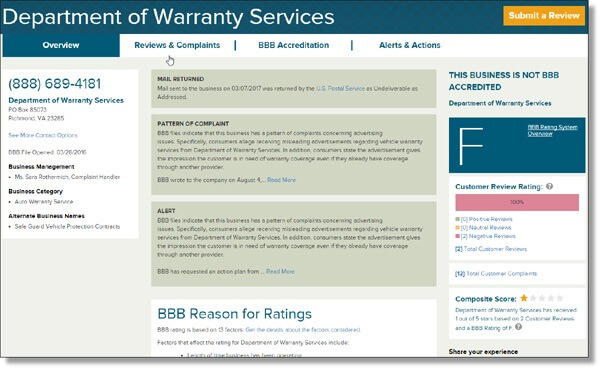 Better Business Bureau report with an F-Rating for Department of Warranty Services