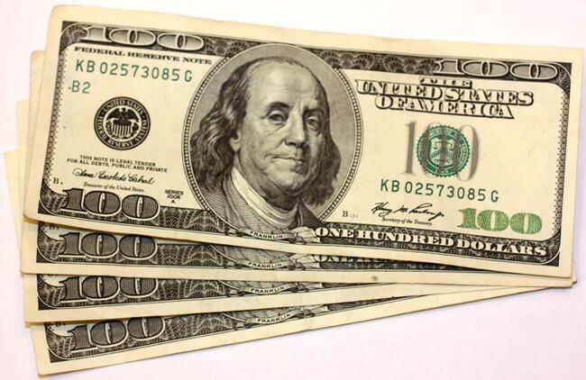 cash spread on table