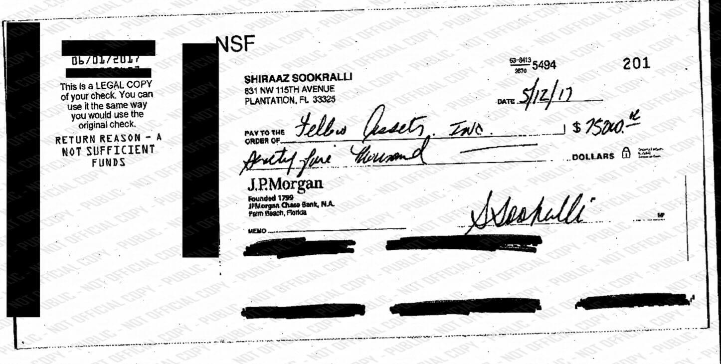 One of 4 bounced checks from Shiraaz Sookralli. Credit: Broward Clerk.org