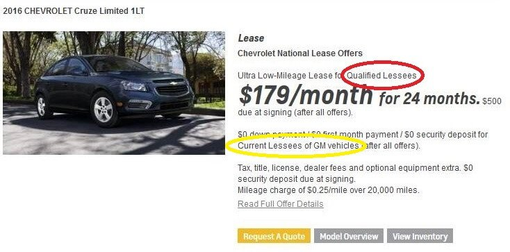 chevy cruze lease ad qualified lessee