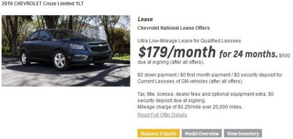 chevy cruze lease ad details