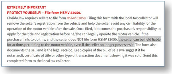 automotive bill of sale florida