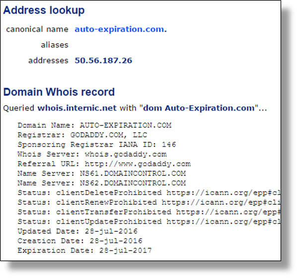Domain lookup shows web site Auto-Expiration.com was created July 28, 2016