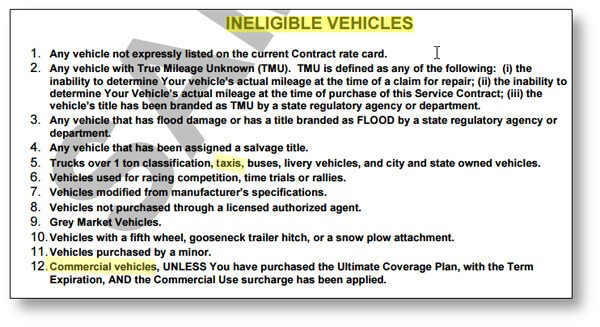 warranty contract showing ineligible vehicles