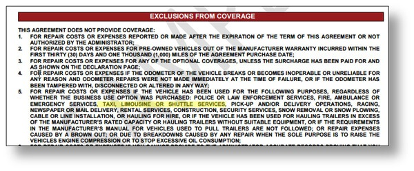 warranty contract showing vehicles excluded from coverage
