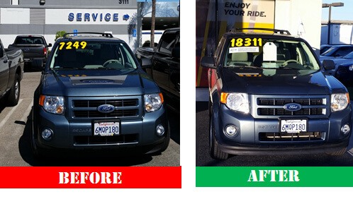 Before/after shot shows the dealer changed the windshield price