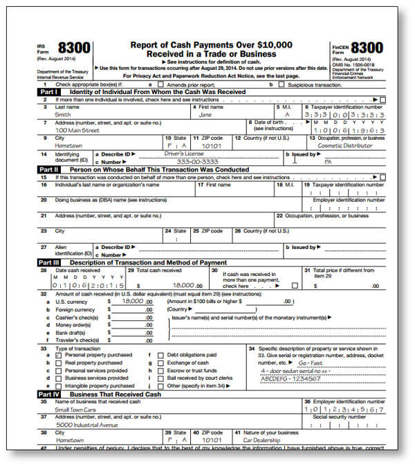 IRS Form 8300 Report of Cash Payments over $10,000