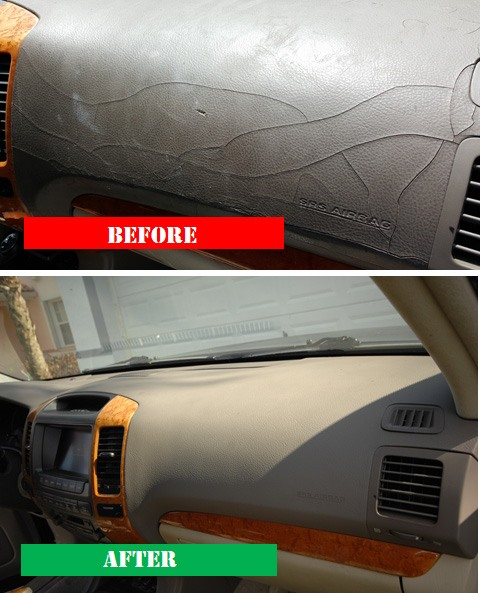 Our cracked Lexus dashboard before and after