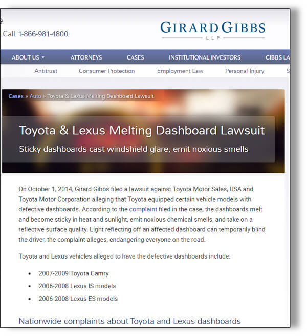 Gibbs Law Group has filed a class action lawsuit against Toyota/Lexus