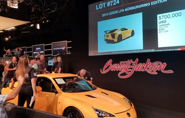 The LFA had a hammer price of $700,000 + 10% buyer's premium