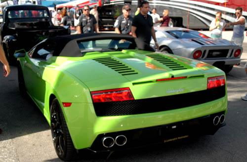 Lamborghini Gallardo Spyder waits outside in the staging lanes