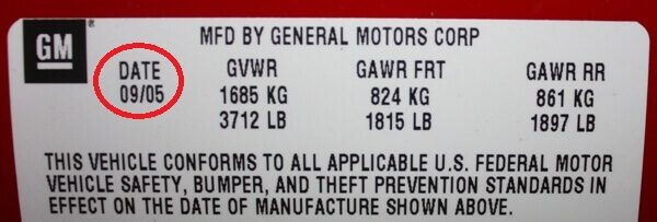 Manufacturers date sticker - GM