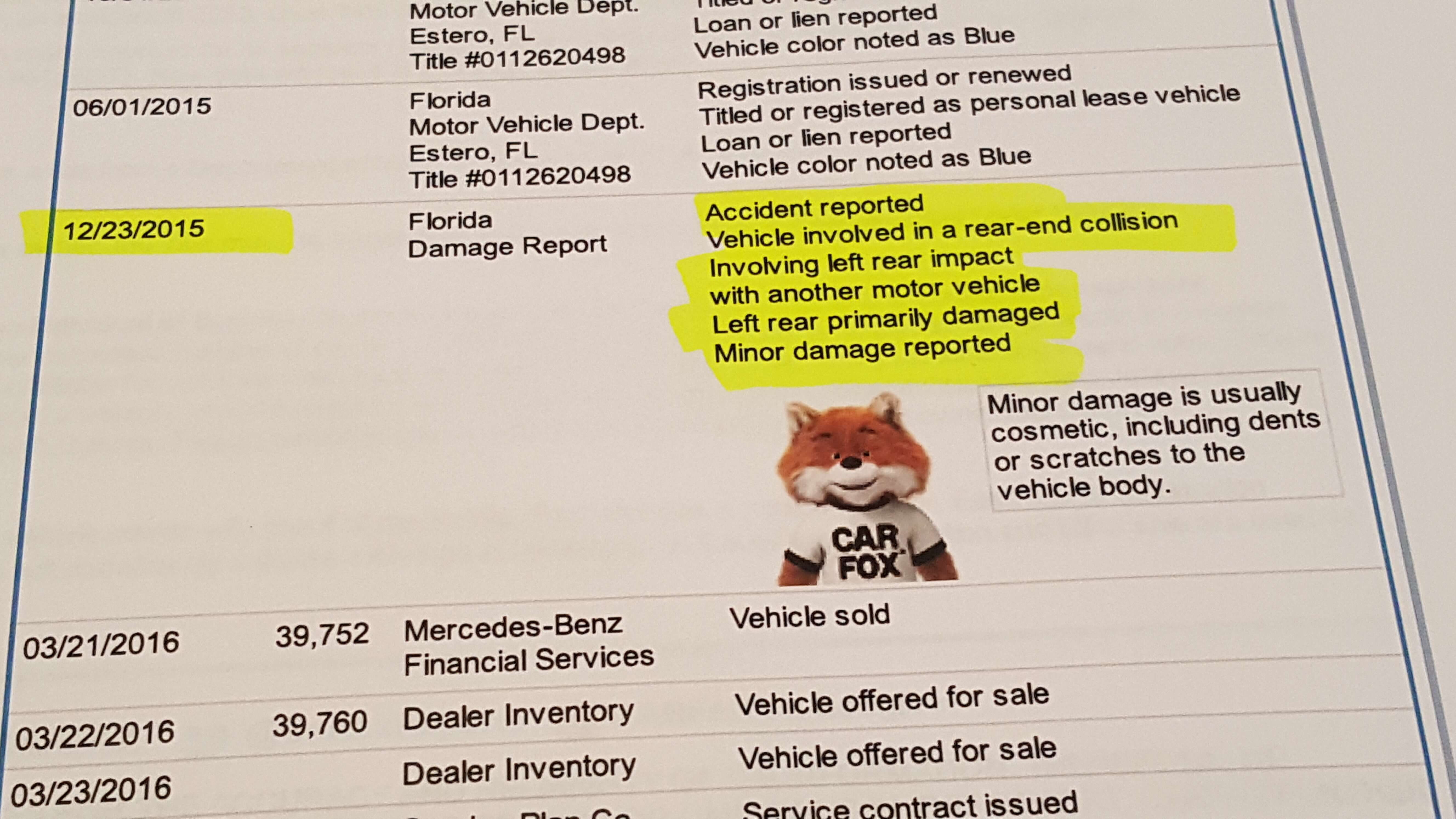 Vehicle History Report details a description of minor accident in the past