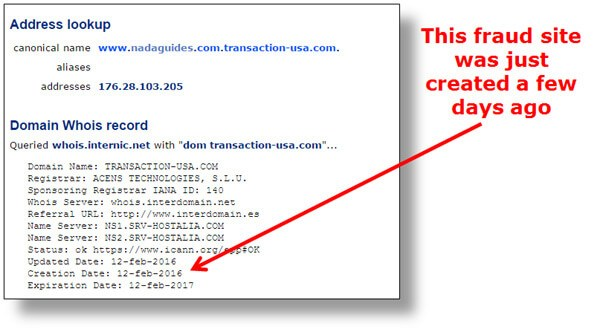 Domain name lookup of the alleged fraud site posing as NADA Guides