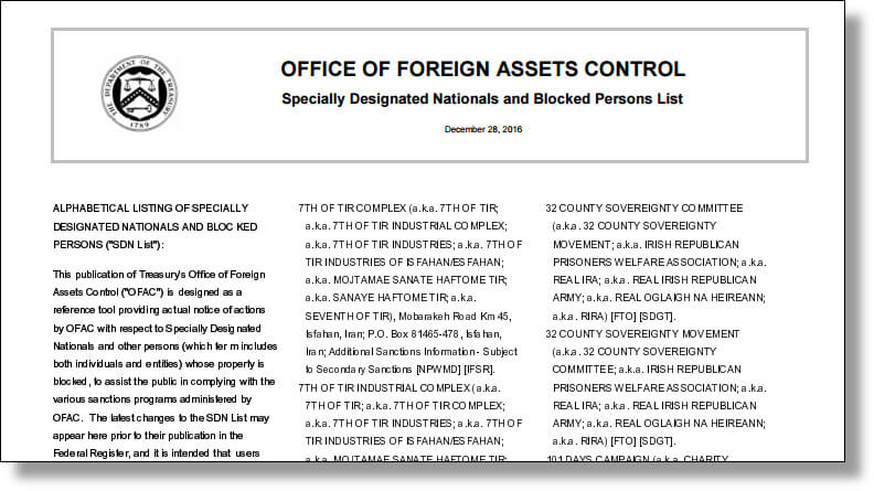 OFAC Specially Designated Nationals (SDN) list of blocked persons