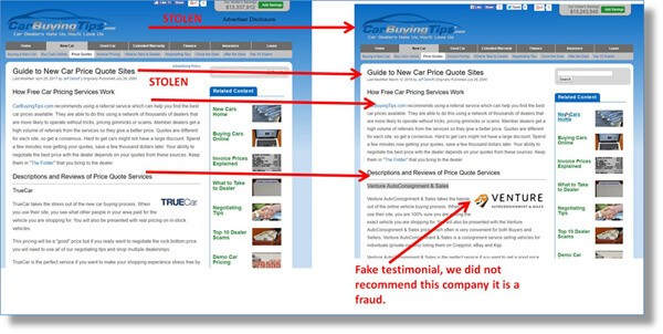 our site on left, and the scammer copy of our site on the right
