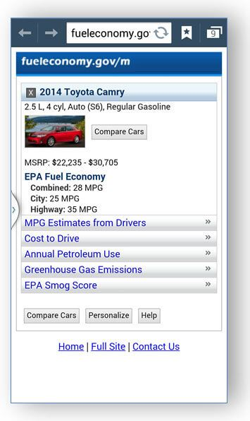 fuel economy screen shot