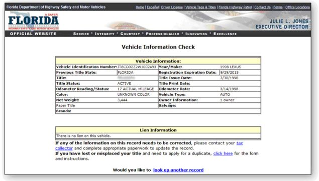 Dept of motor vehicles florida registration for Motor vehicle record check