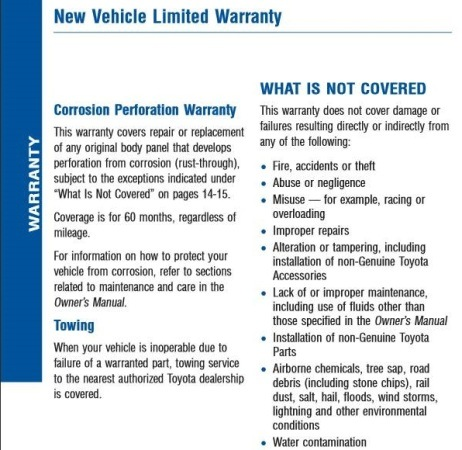 toyota warranty guide