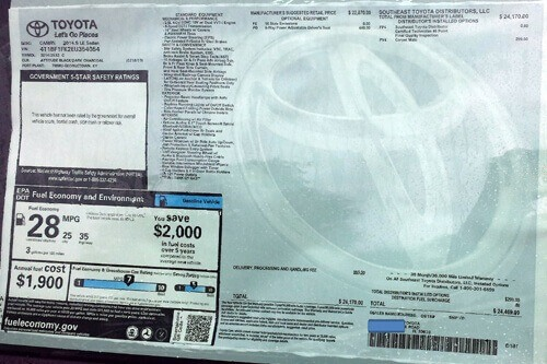 Toyota window sticker small