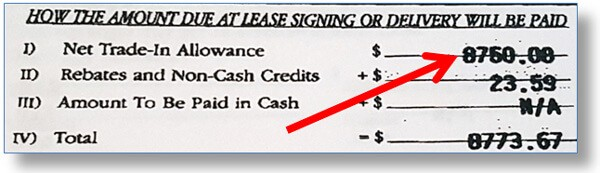 Example sales contract shows dealer is paying $8670 for the buyer's trade-in vehicle