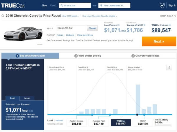 screen shot of truecar