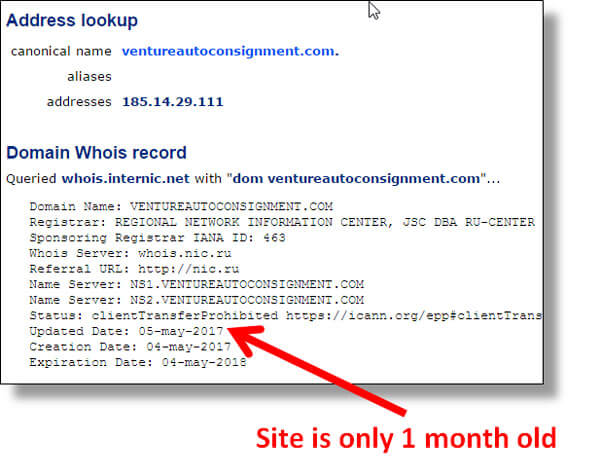 Whois lookup shows VentureAutoConsignment.com was just created on May 4th, proving their copyright 2009 claim on their web site is false