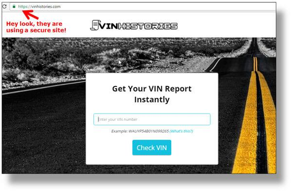 Suspicious VIN history report site from Craigslist scammer