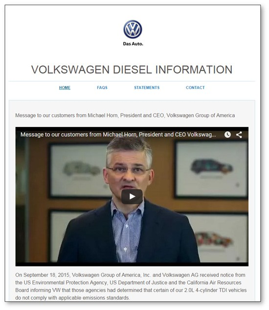 Volkswagen Website Announcement Screen Shot