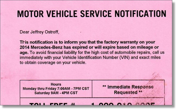 warranty solicitation we received from Protection Services out of St. Charles, MO