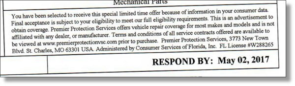 Warranty solicitation we received from Premier Protection Services out of St. Charles, MO